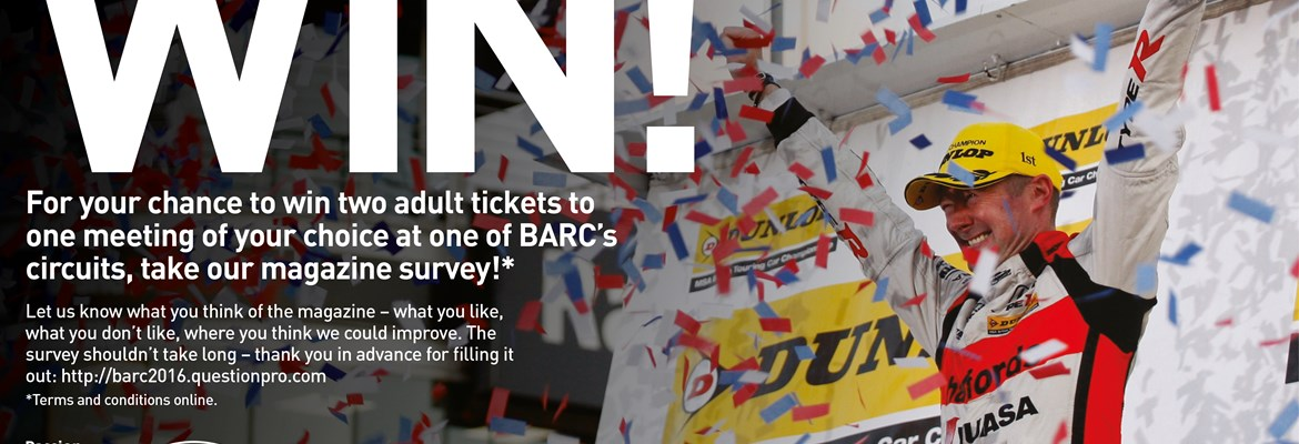 WIN tickets to an event of your choice at a BARC circuit