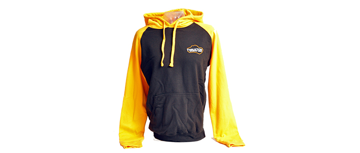 Image of Thruxton hoodie with yellow sleeves